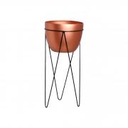 Vaso De Chão M Em Cerâmica C/ Suporte em Ferro Linha Bronze