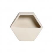 Vaso De Parede Aberto Em Cerâmica Bege 19,5x23 cm