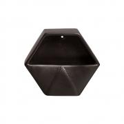 Vaso De Parede Aberto Em Cerâmica Preto 19,5x23 cm