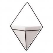 Vaso De Parede Branco Triangular Cerâmica C/ Suporte Ferro