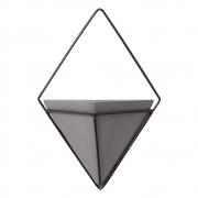 Vaso De Parede Cinza Triangular Cerâmica C/ Suporte Ferro