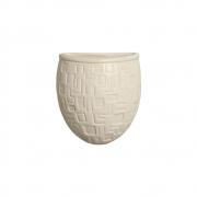 Vaso De Parede Cor Marfim Cerâmica 15,7x13,5 cm