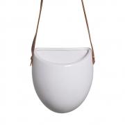 Vaso De Parede Em Cerâmica Branco C/ Alça de Couro Sintético