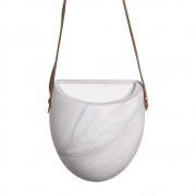 Vaso De Parede Em Cerâmica Marmorizado C/ Alça de Couro Sintético