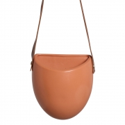 Vaso De Parede Em Cerâmica Terracota C/ Alça de Couro