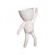 Vaso De Parede Robert Plant Alpinista Cerâmica Branco 20x10,3 cm