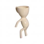 Vaso De Parede Robert Plant Em Cerâmica Marfim 20x10,2 cm