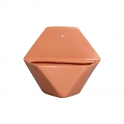 Vaso De Parede Sextavado Cerâmica Cor Terracota 19,5x22 cm