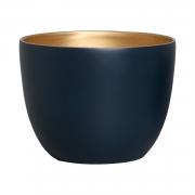 Vaso Em Cerâmica Azul e Dourado G 25,3x34 cm