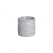 Vaso Étnico Cinza Pequeno Em Cerâmica 13,7 x 17,2 cm