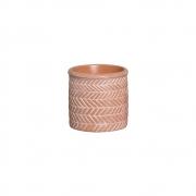Vaso Étnico Laranja Pequeno Em Cerâmica 13,7x14,2 cm