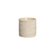 Vaso Étnico Marfim Pequeno Em Cerâmica 13,7 x 17,2 cm