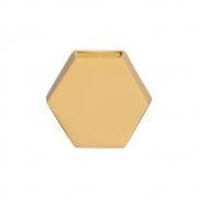 Vaso De Parede Hexagonal Em Cerâmica Amarelo 24,5x26,4 cm