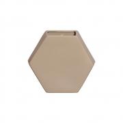 Vaso De Parede Hexagonal Em Cerâmica Nude 24,5x26,4 cm