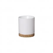 Vaso M E Pratinho Branco Em Cerâmica 19,4x17 cm