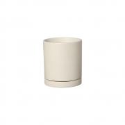 Vaso M E Pratinho Cor Marfim Em Cerâmica 19,4x17 cm
