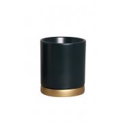 Vaso M E Pratinho Preto E Dourado Em Cerâmica 19,4x17 cm