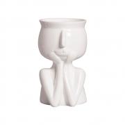 Vaso Mãos No Rosto Cerâmica Branco 18,2x10,6 cm