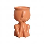 Vaso Mãos No Rosto Cerâmica Terracota 18,2x10,6 cm