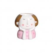 Vaso Menina Moça Olhos Fechados Em Cerâmica 12,2x11,7 cm