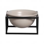 Vaso Nude M Cerâmica C/ Suporte Ferro Bbb P/ Decoração Mesa