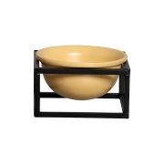 Vaso P Amarelo Cerâmica C/ Suporte Ferro Bbb Decora Mesa Sala