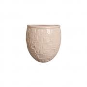 Vaso Parede Planta Arredondado Cerâmica Bege 15,7x13,5 cm