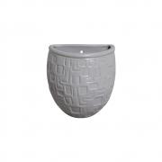Vaso Parede Planta Arredondado Cerâmica Cinza 15,7x13,5 cm