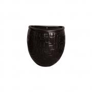 Vaso Parede Planta Arredondado Cerâmica Preto 15,7x13,5 cm