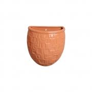 Vaso Parede Planta Arredondado Cerâmica Terracota 15,7x13,5 cm