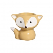 Vaso Raposa Amarelo Cerâmica Cacto Suculenta Barato 12x14,4 cm