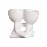 Vaso Robert Plant Em Cerâmica Namorados Branco 14,5x16,7 cm