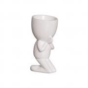 Vaso Robert Plant Rezando Cerâmica Branco 17,3x8,3 cm