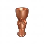 Vaso Robert Plant Rezando Cerâmica Bronze 17,3x8,3 cm