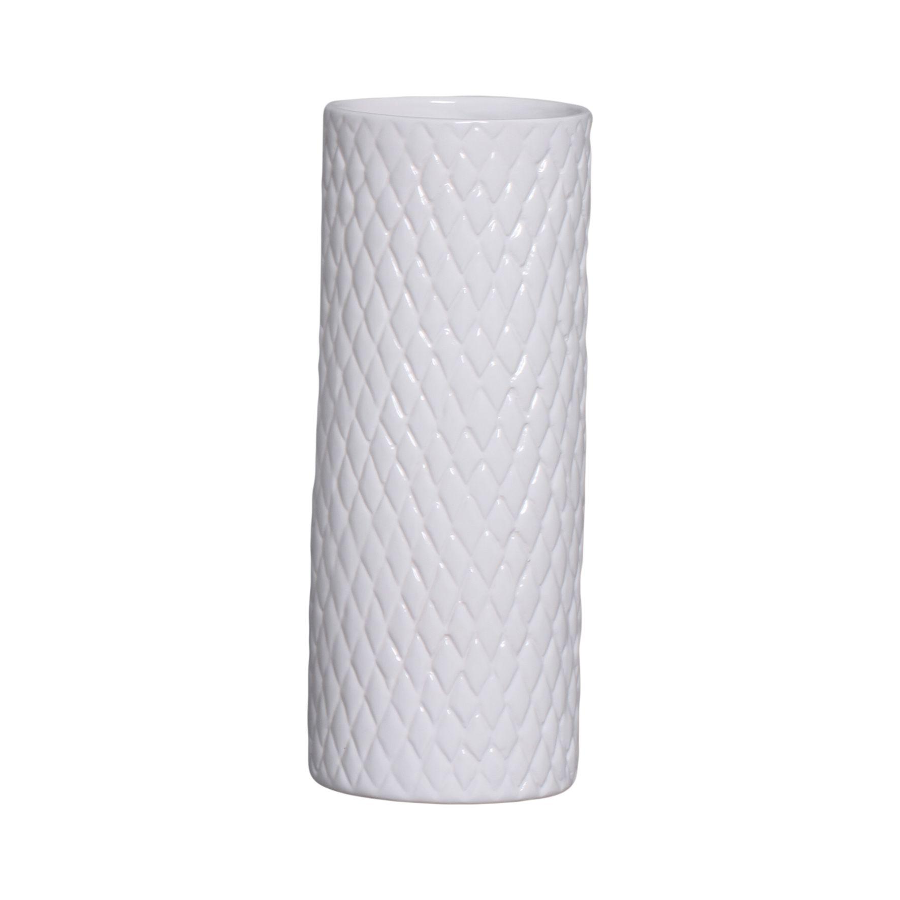 Cachepot de Cerâmica Branco 32,7 x 12,7 cm