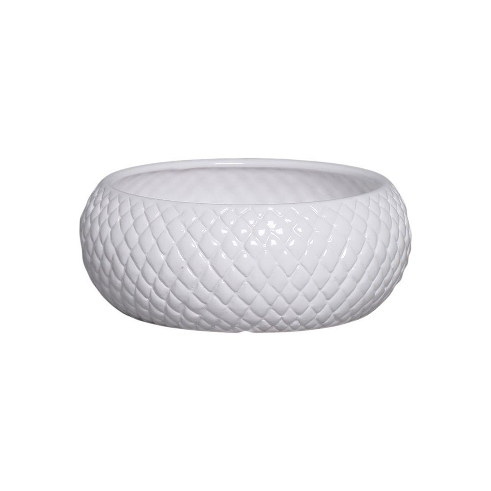Cachepot de Cerâmica Branco Boca Larga P 10x25,5 cm