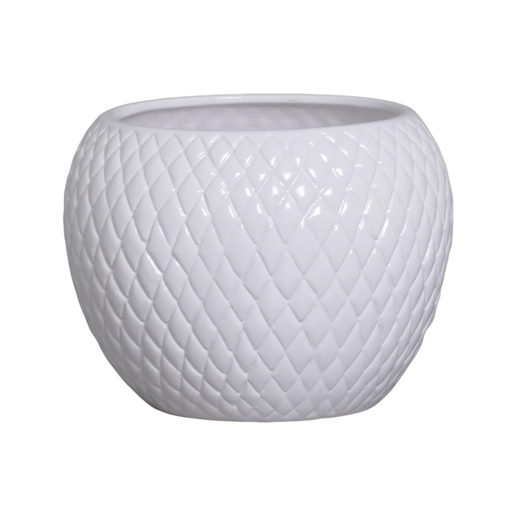 Cachepot de Cerâmica Branco G 18,7x24,5 cm