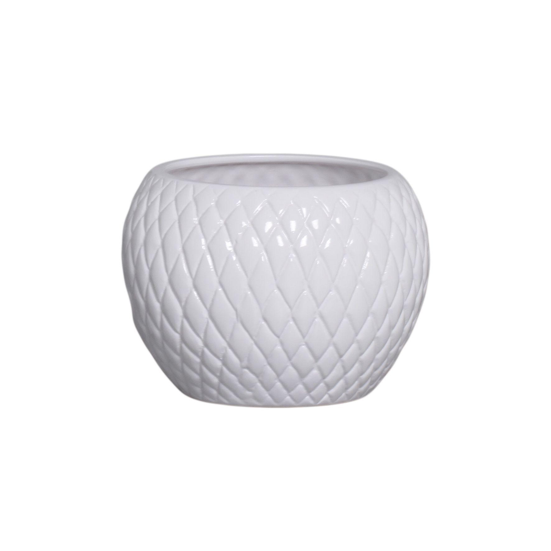 Cachepot de Cerâmica Branco P 14,3x19,3 cm