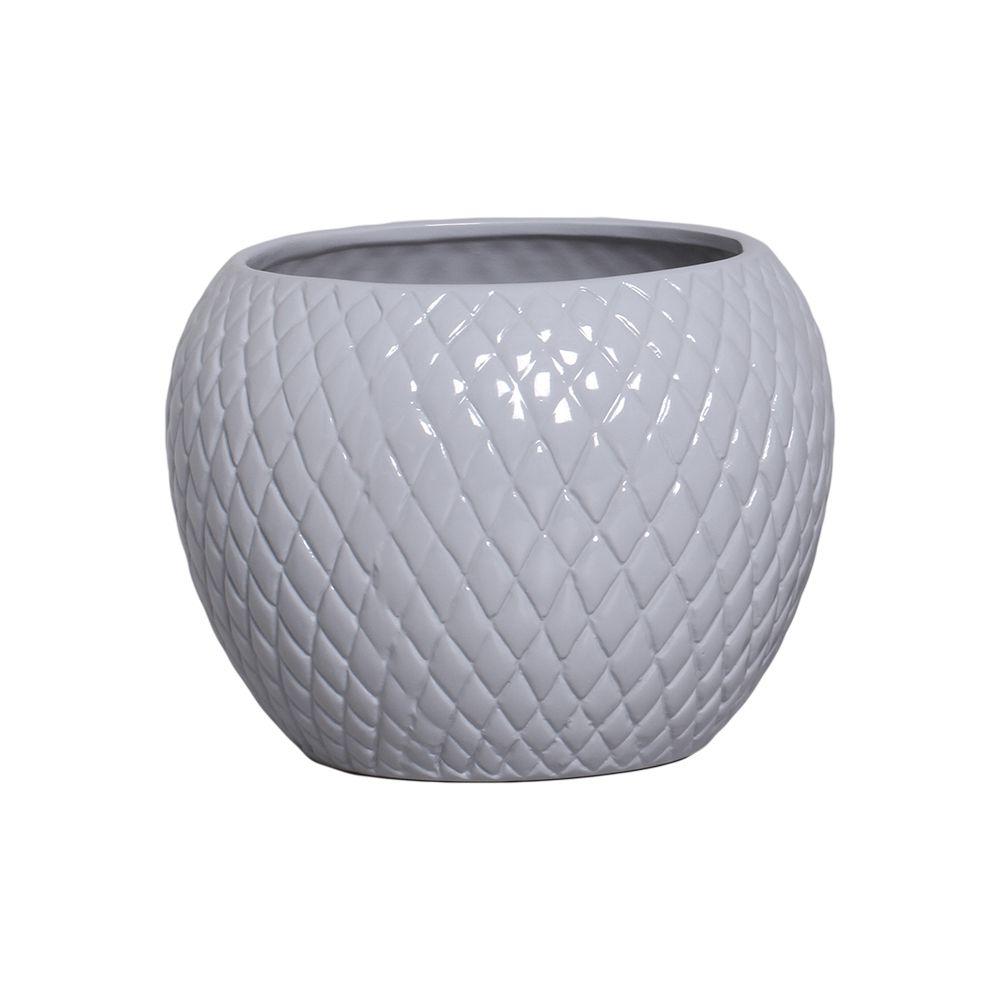 Cachepot de Cerâmica Cinza Claro G 18,7x24,5 cm