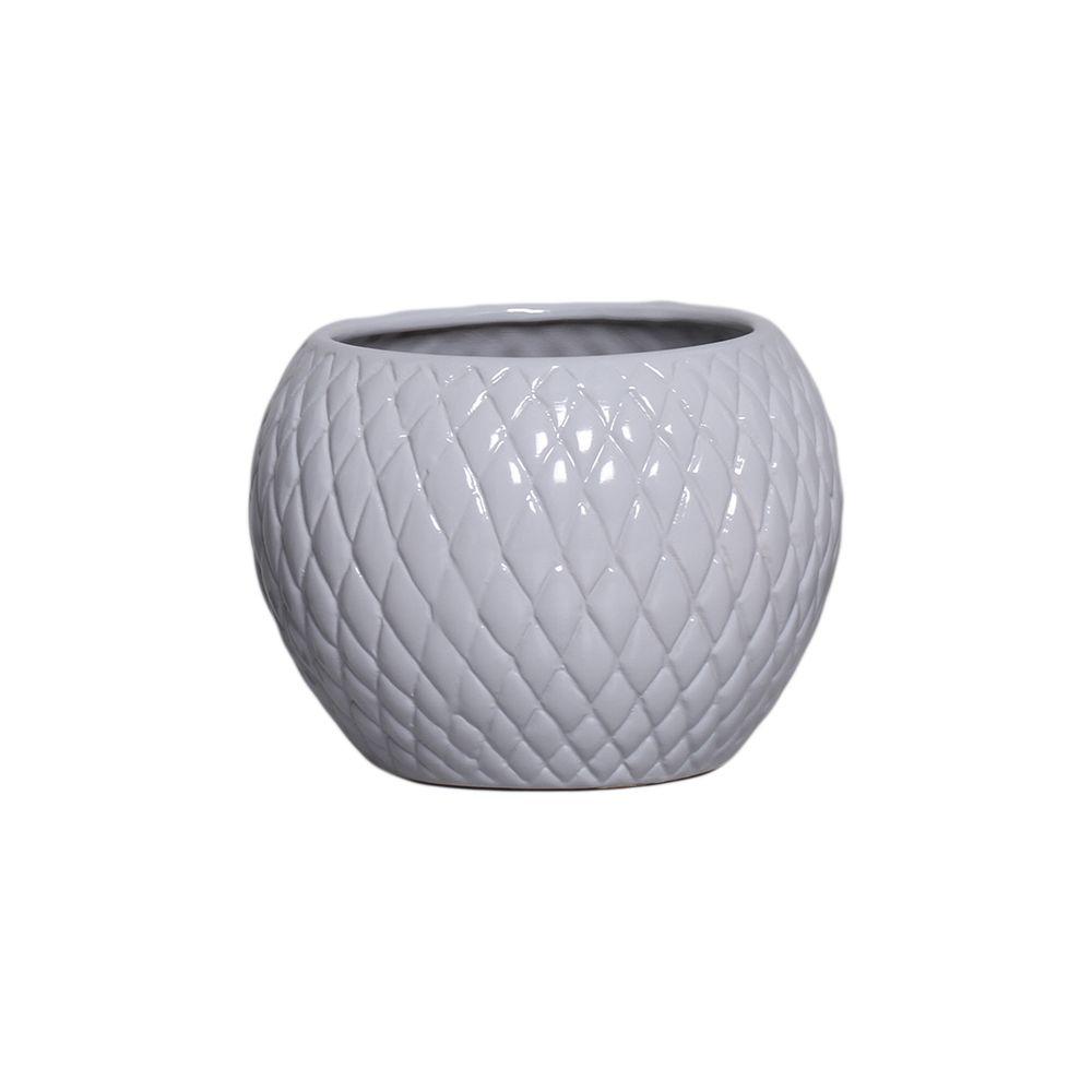 Cachepot de Cerâmica Cinza Claro P 14,3x19,3 cm