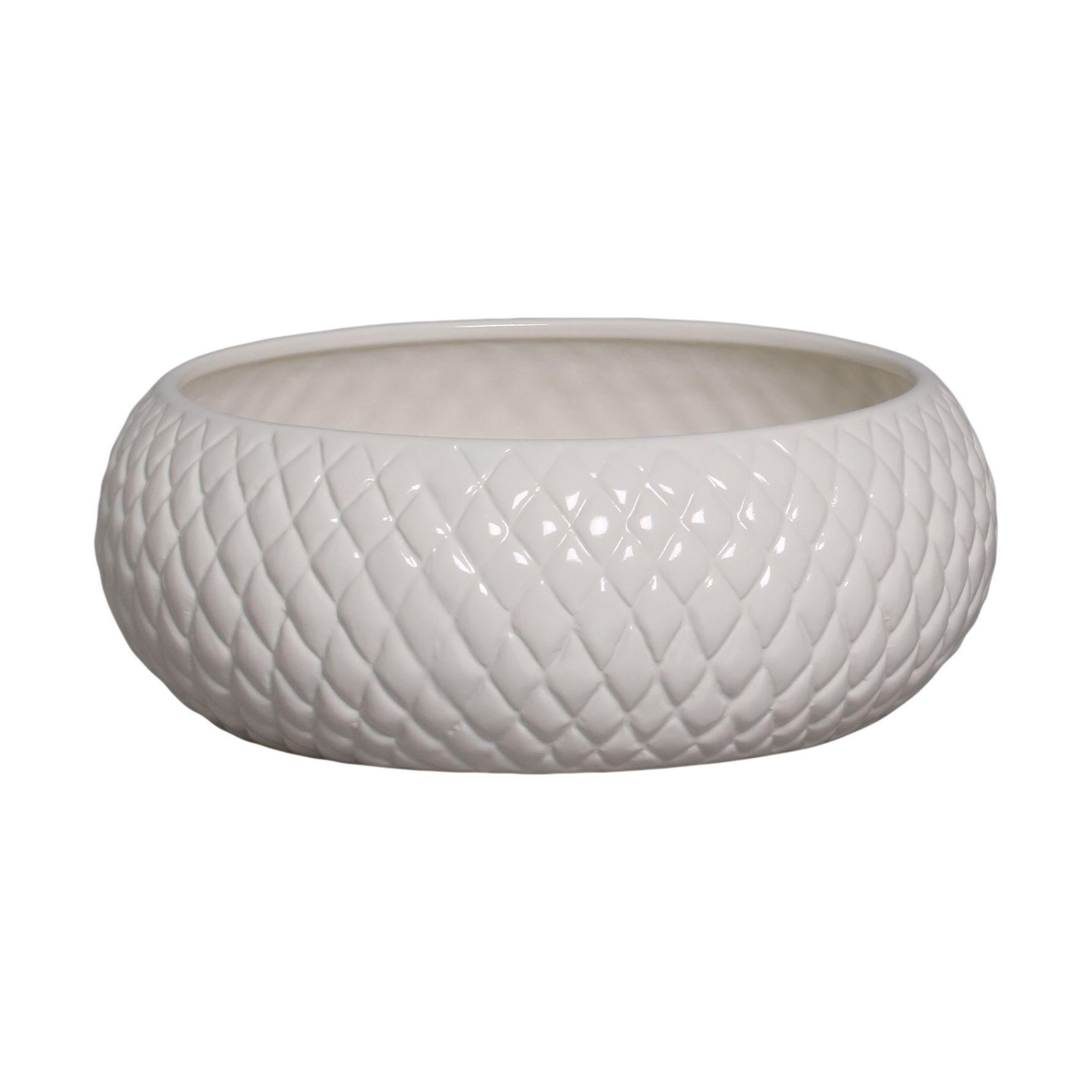 Cachepot de Cerâmica Crema Claro Boca Larga G 11,3 x 30,2 cm