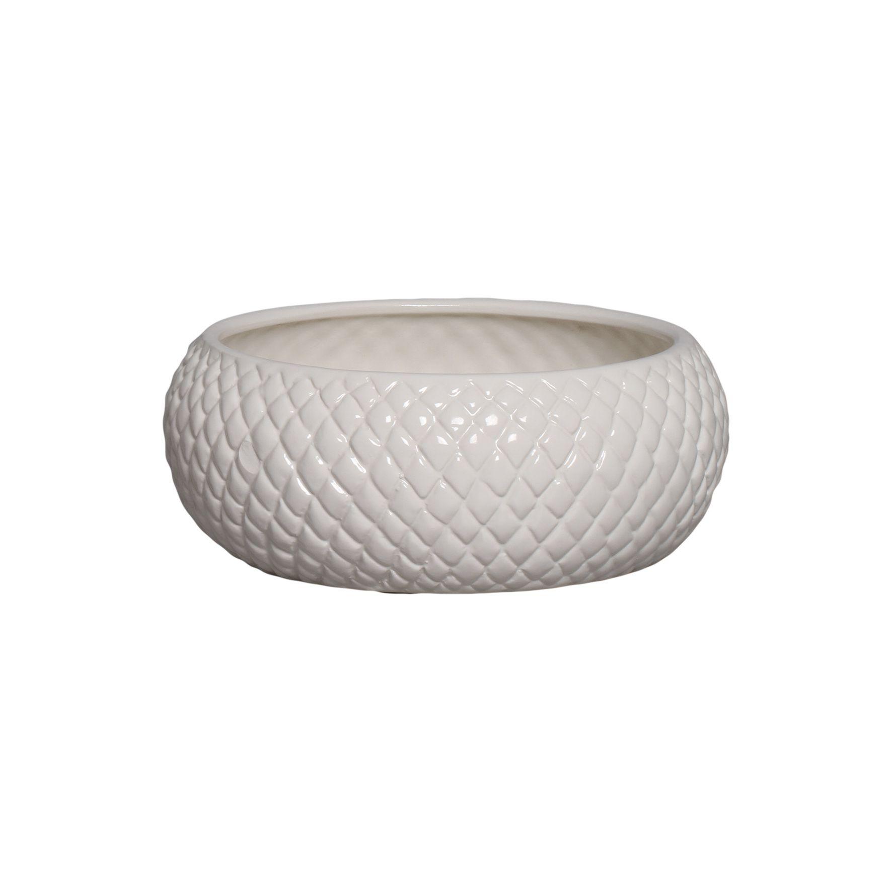Cachepot de Cerâmica Crema Claro Boca Larga P 10x25,5 cm