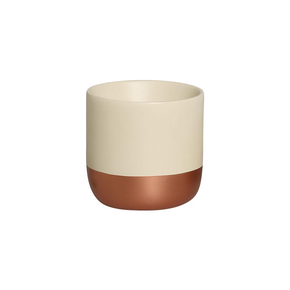 Cachepot M Marfim e Bronze Cerâmica Decoração Casa 16,2x16,6 cm