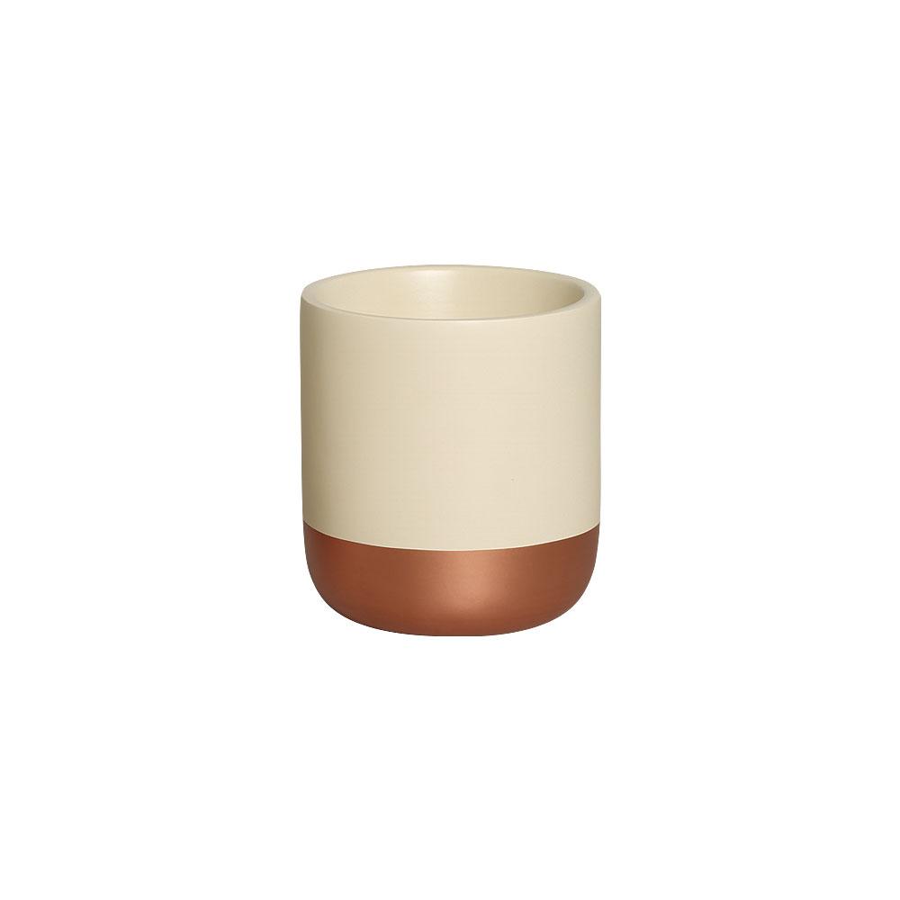 Cachepot P Marfim e Bronze Cerâmica Decoração Casa 15x13,7 cm
