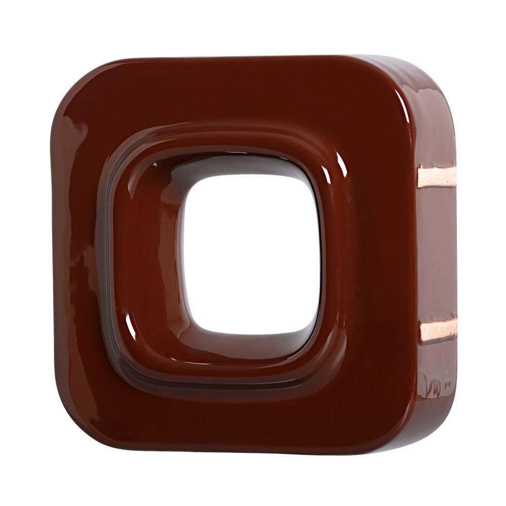 Cobogó Bauhaus Quadrado Marrom em Cerâmica Esmaltada 19,5x19,5x6,5 Cm