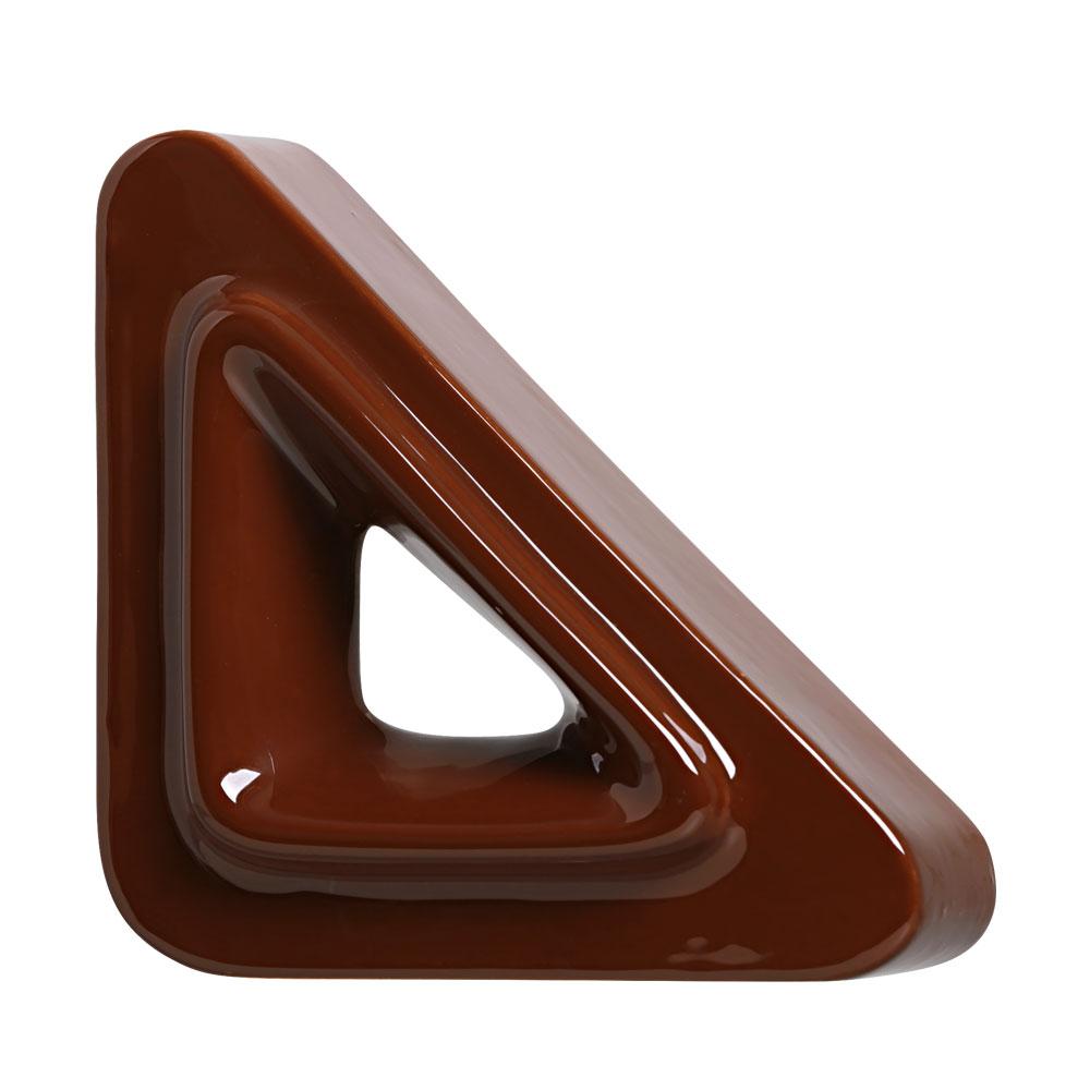 Cobogó Bauhaus Triângulo V Marrom em Cerâmica Esmaltada 19,5x19,5x6,5 Cm