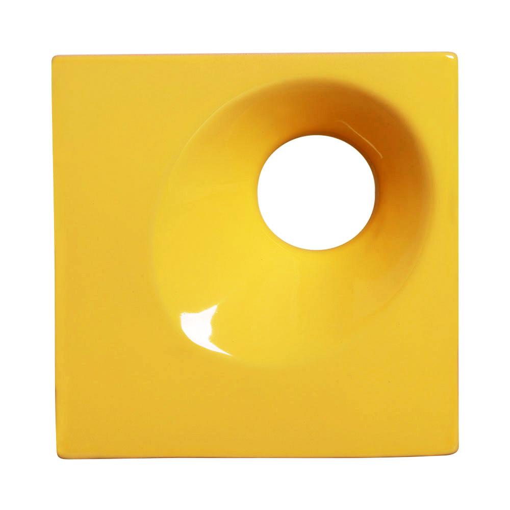 Cobogó de Cerâmica Amarelo Esmaltado Linha Orvalho M 19,5x19,5x8 Cm