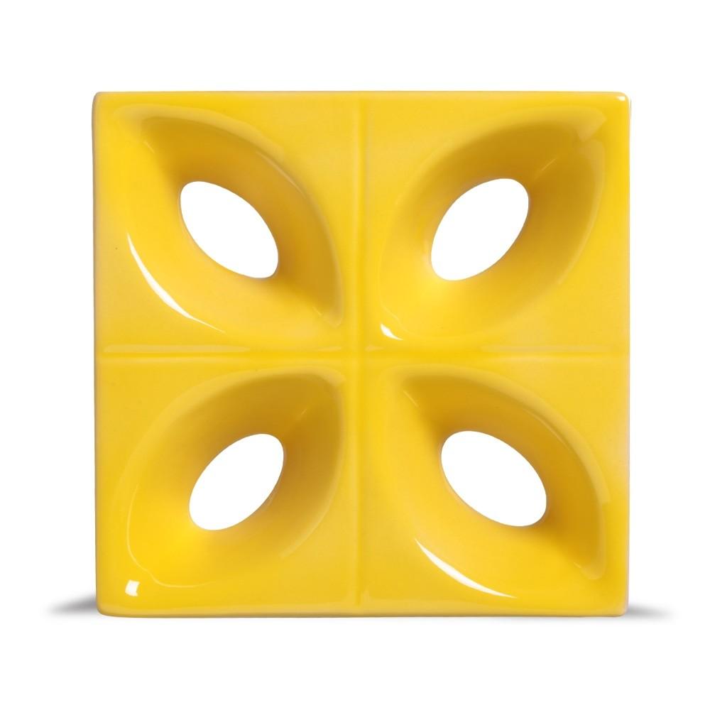 Cobogó de Cerâmica Amarelo Esmaltado Linha Pétala 19,5x19,5x8 Cm