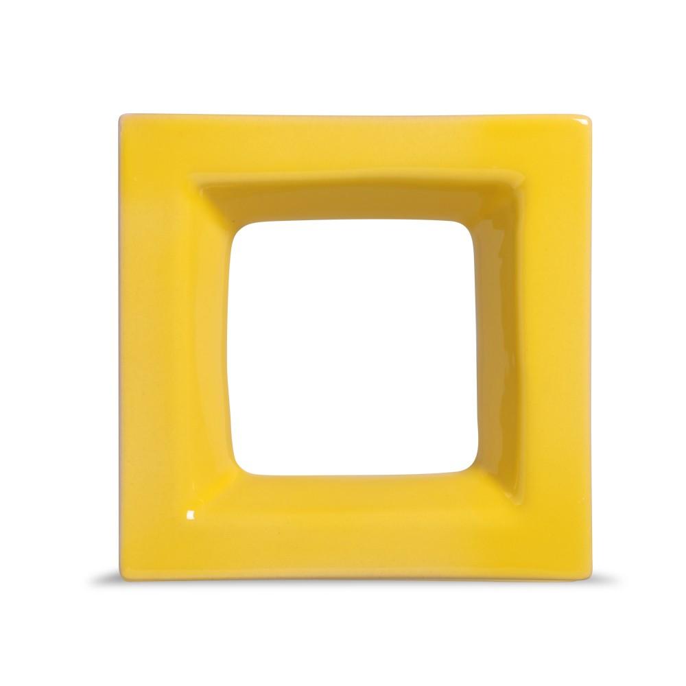 Cobogó de Cerâmica Amarelo Esmaltado Linha Square 19,5x19,5x8 Cm