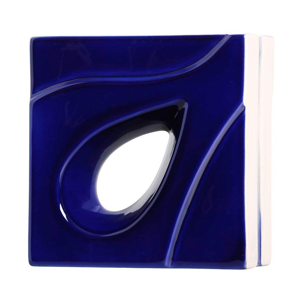 Cobogó de Cerâmica Azul Esmaltado Linha Gota 20x20x8 Cm
